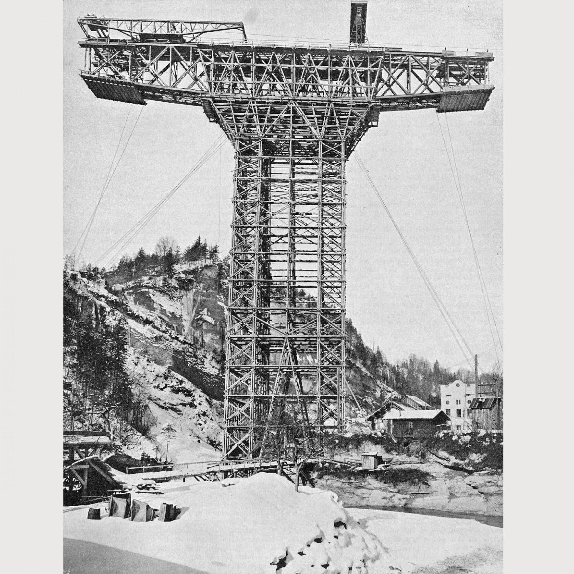 Fachwerkträger um 1910 für das Sitterviadukt.