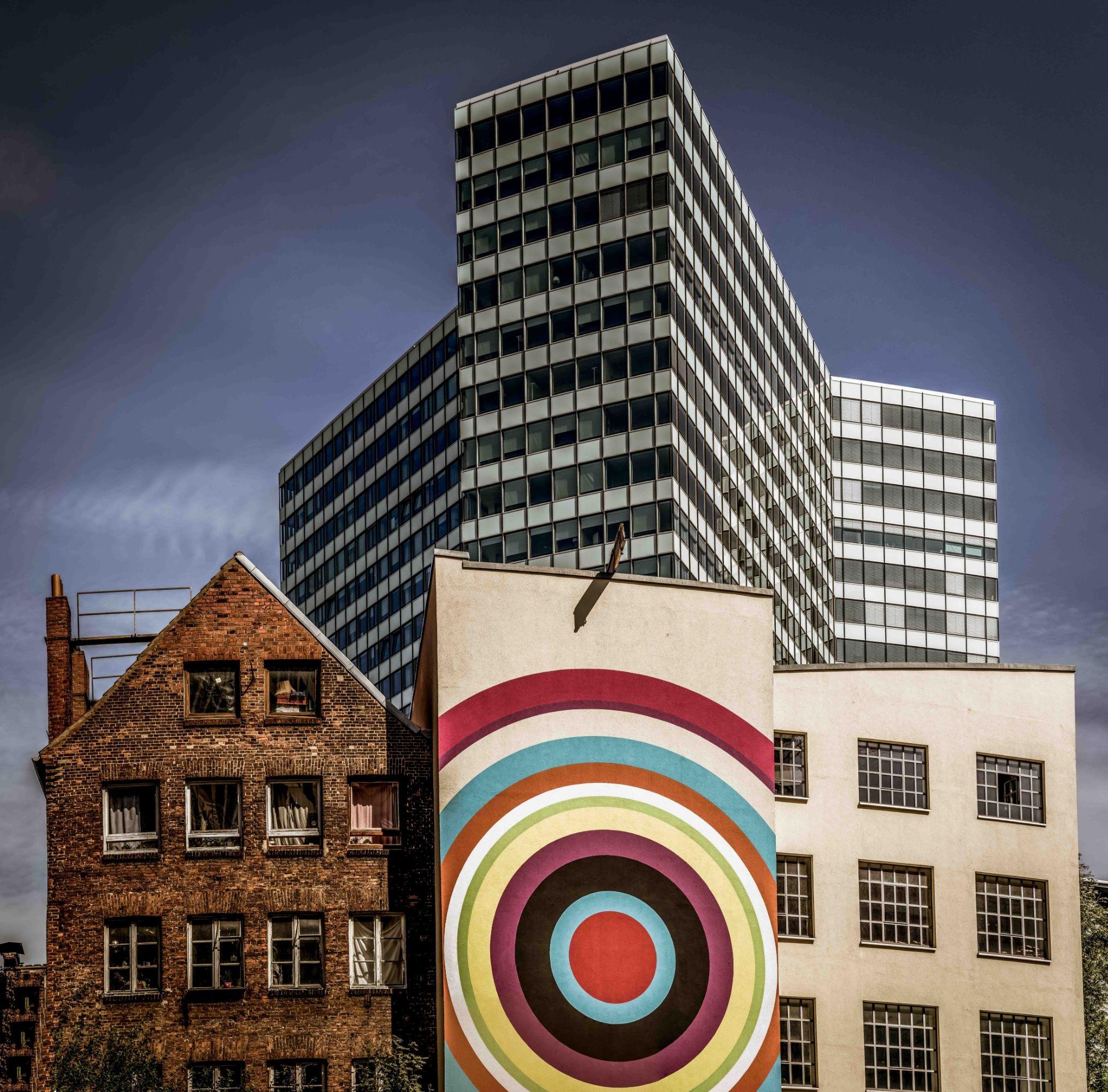 Drei Gebäude in Hamburg, Deutschland
