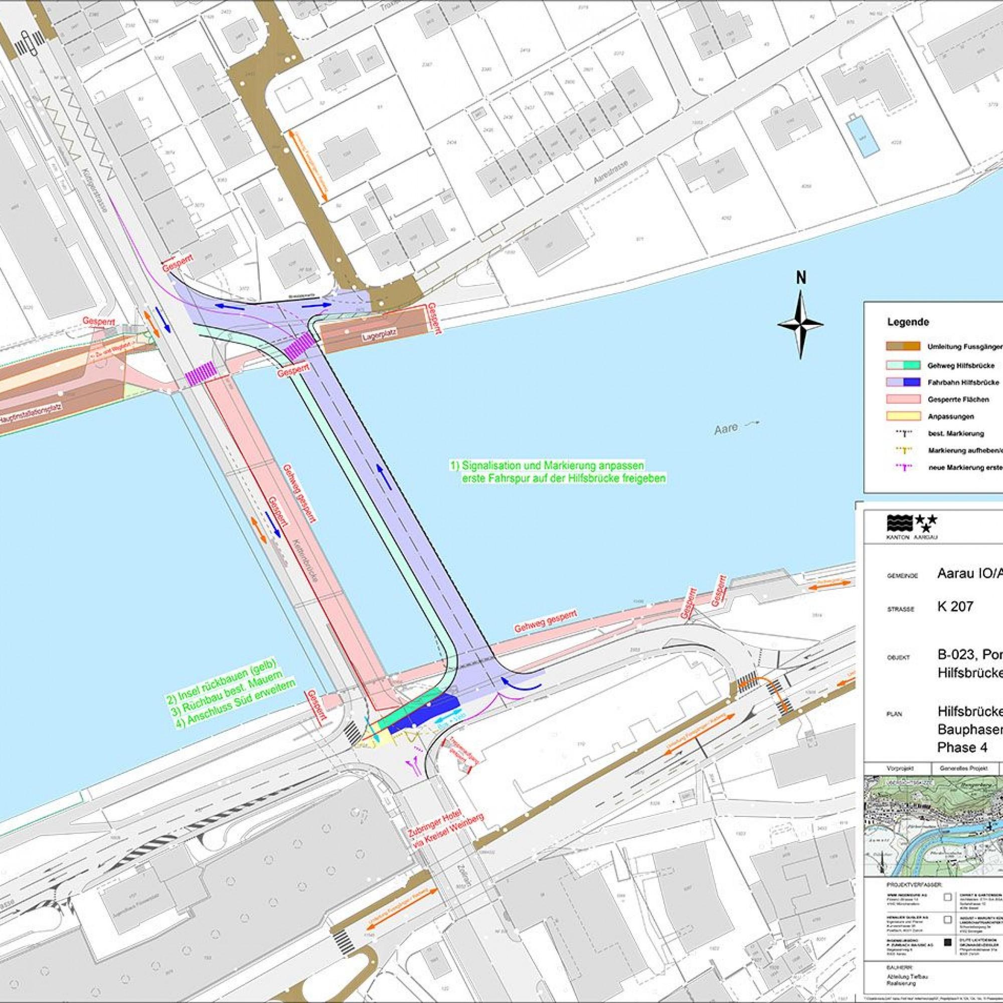 Verkehrsführung Ersatz Kettenbrücke Aarau