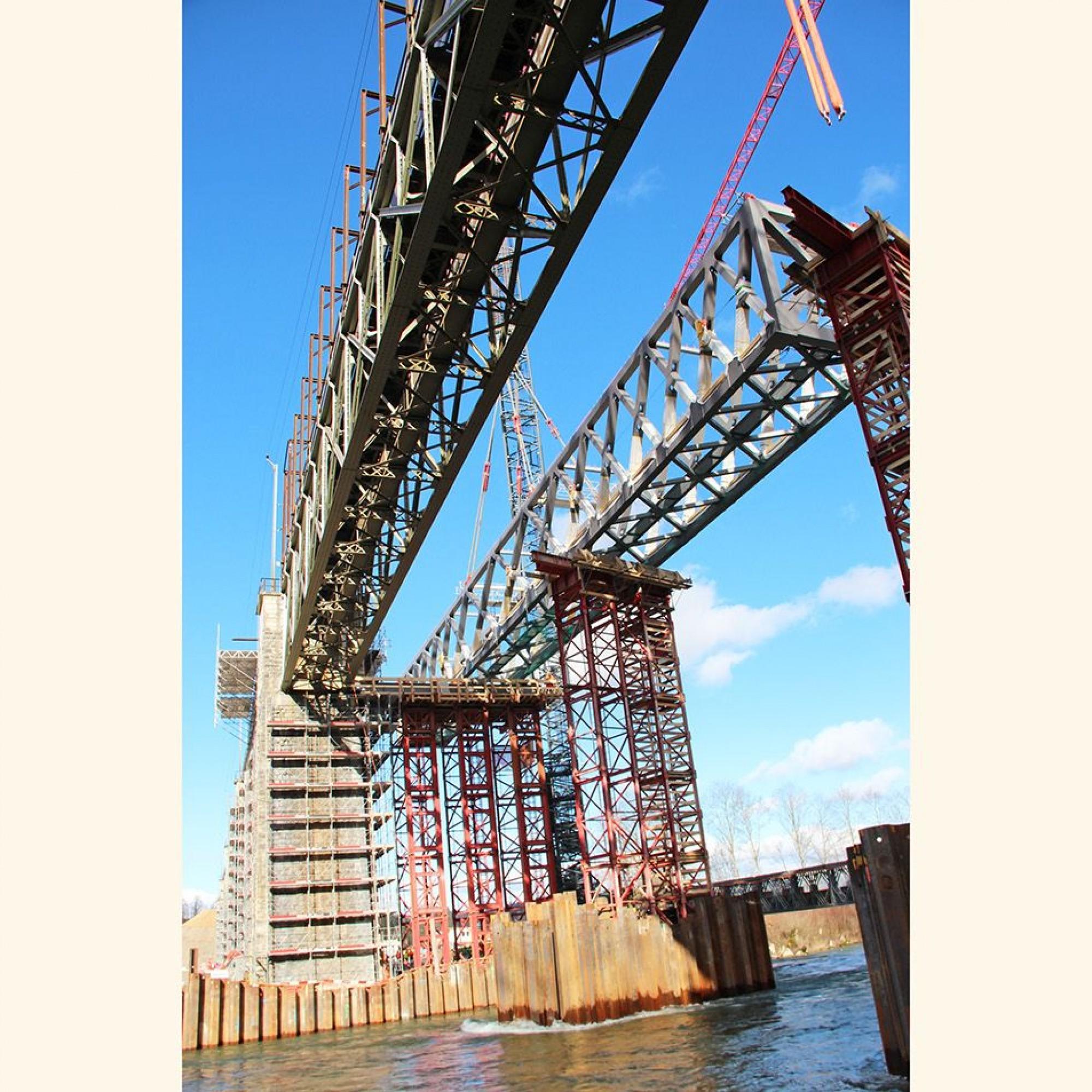 Saaneviadukt Stahlbrücke Gerüst