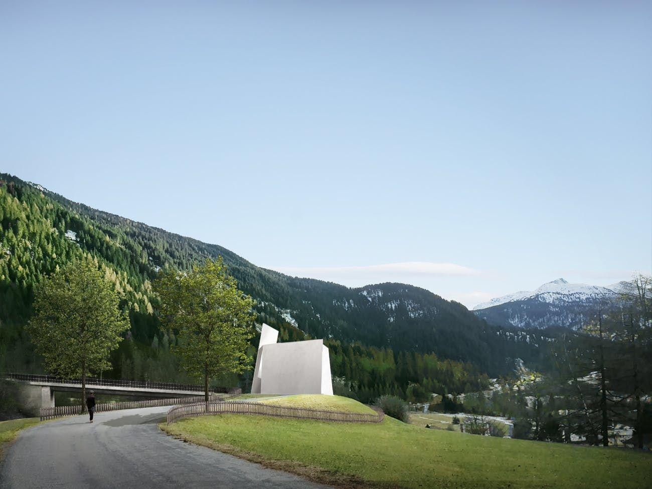 Visualisierung der ersten Autobahnkirche der Schweiz in Andeer