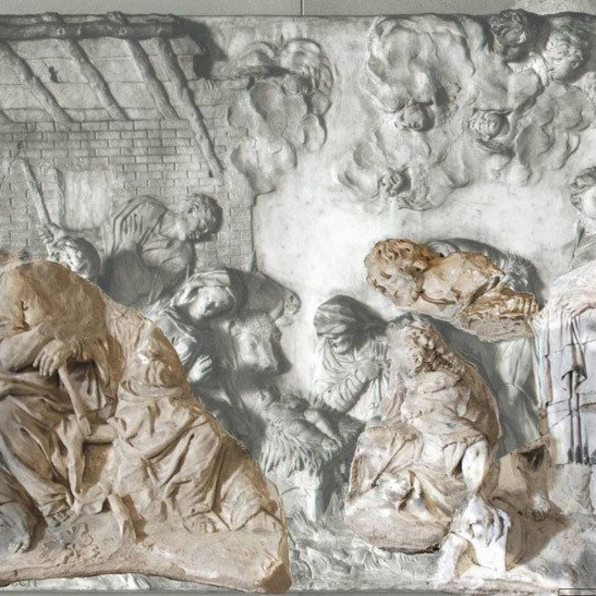Marmorrelief die Anbetung des Hirten von Giuseppe Torretti