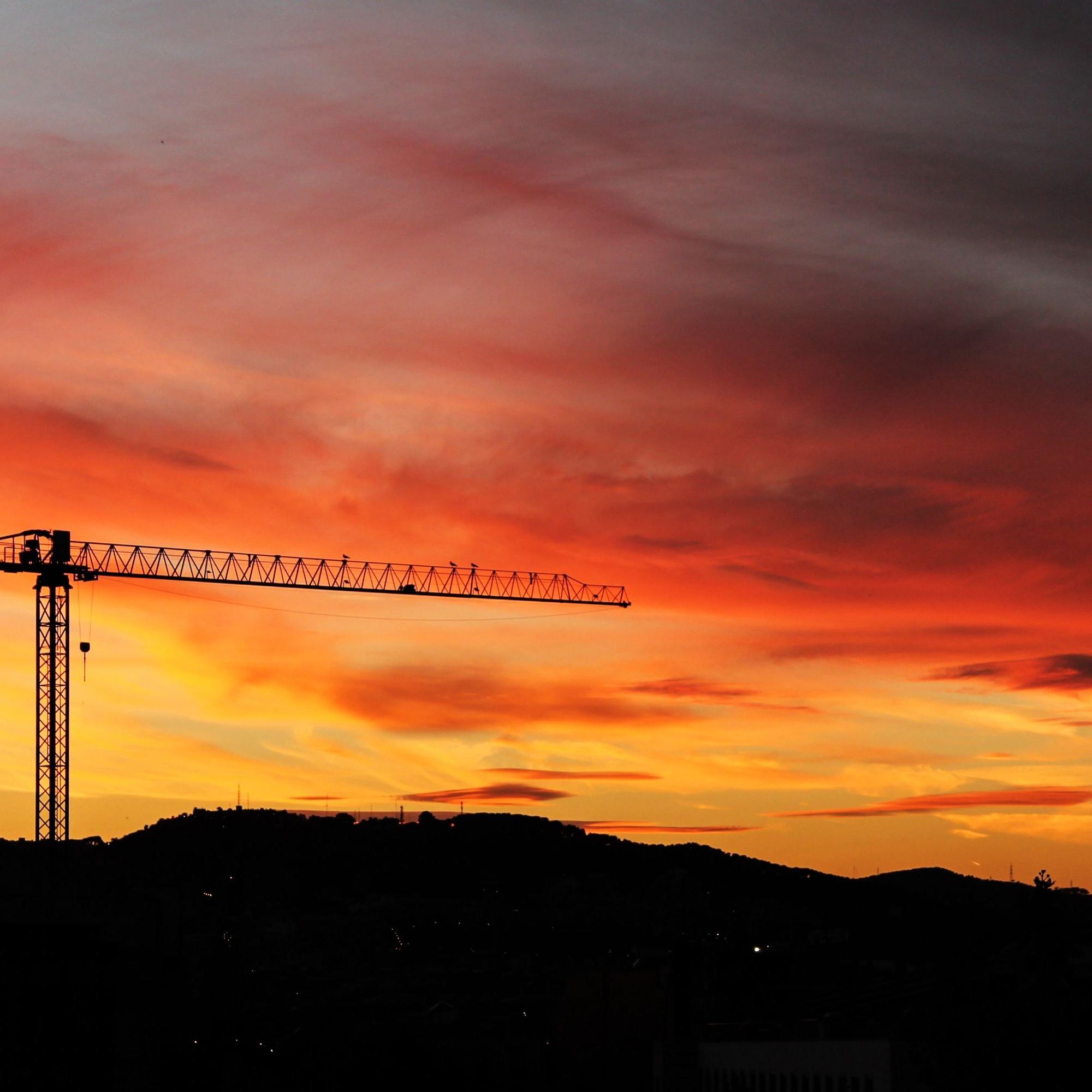 Kran bei Sonnenuntergang