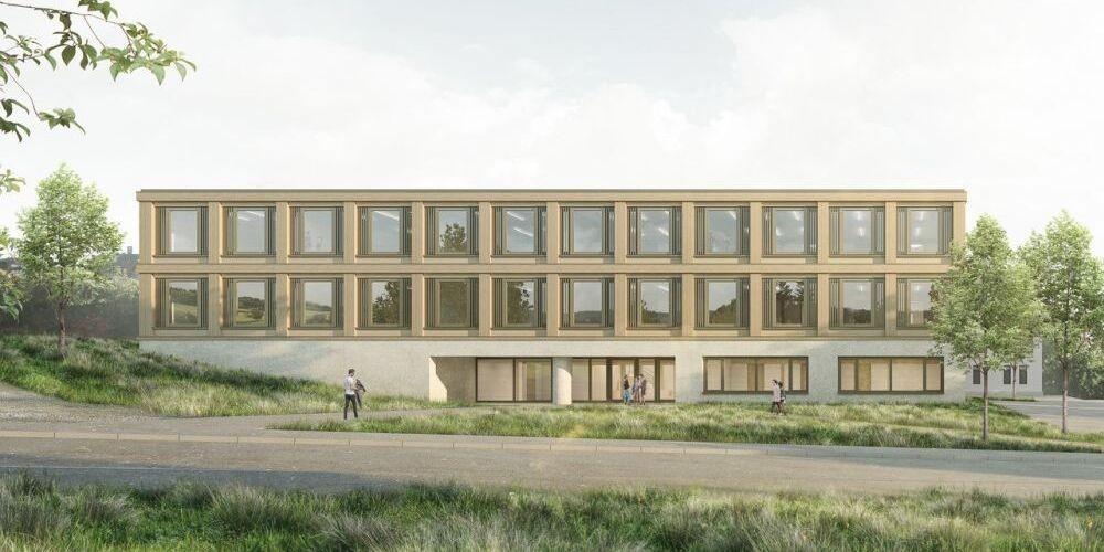 Visualisierung der Nordfassade des Erweiterungsbau der Kantonsschule Frauenfeld