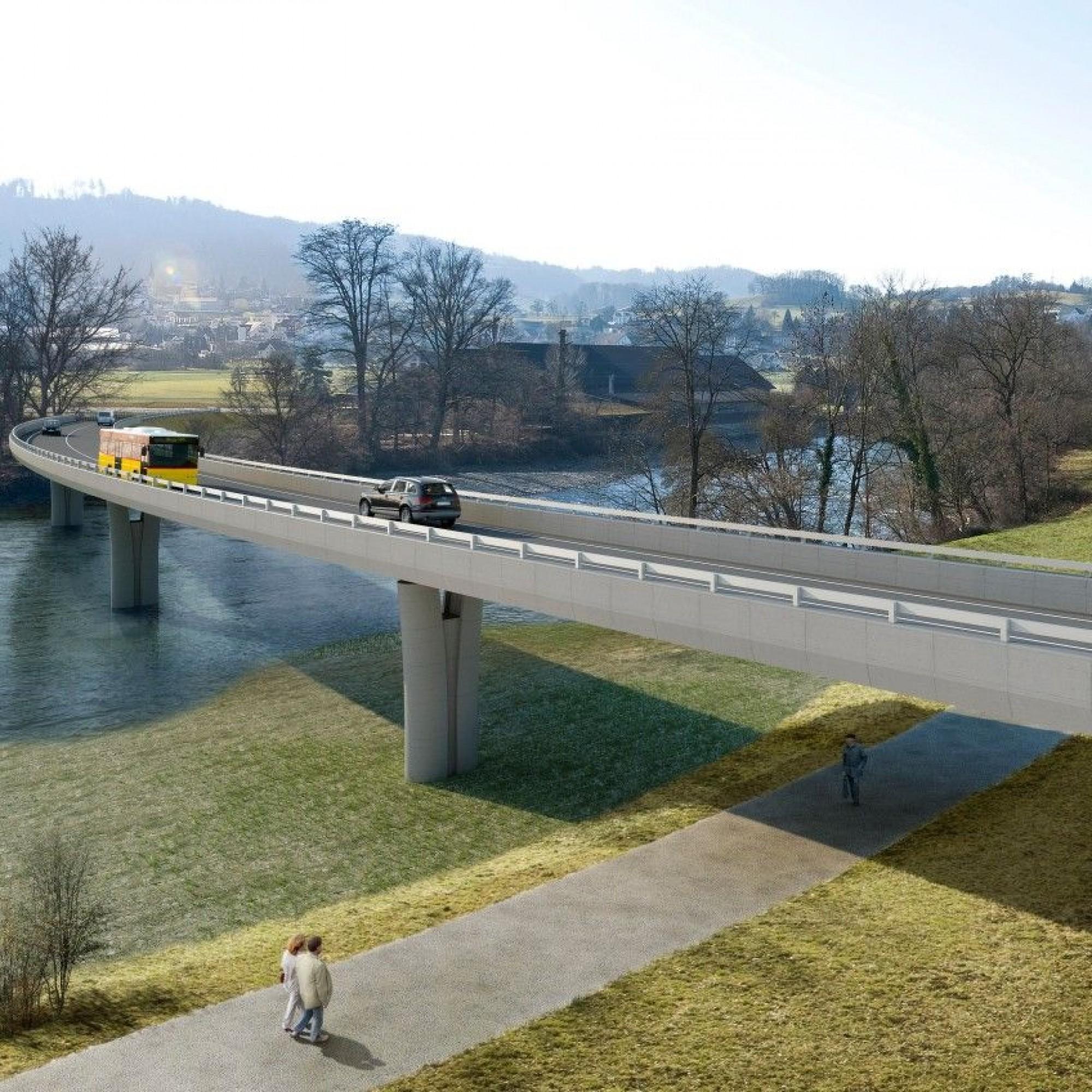 Neue Reussbrücke mit Uferweg