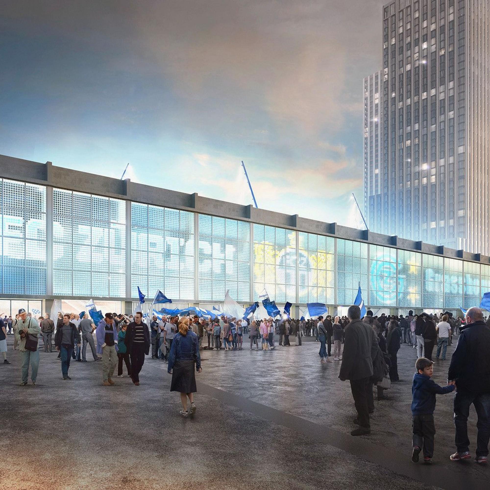 Visualisierung von neuem Hardturmstadion in Zürich
