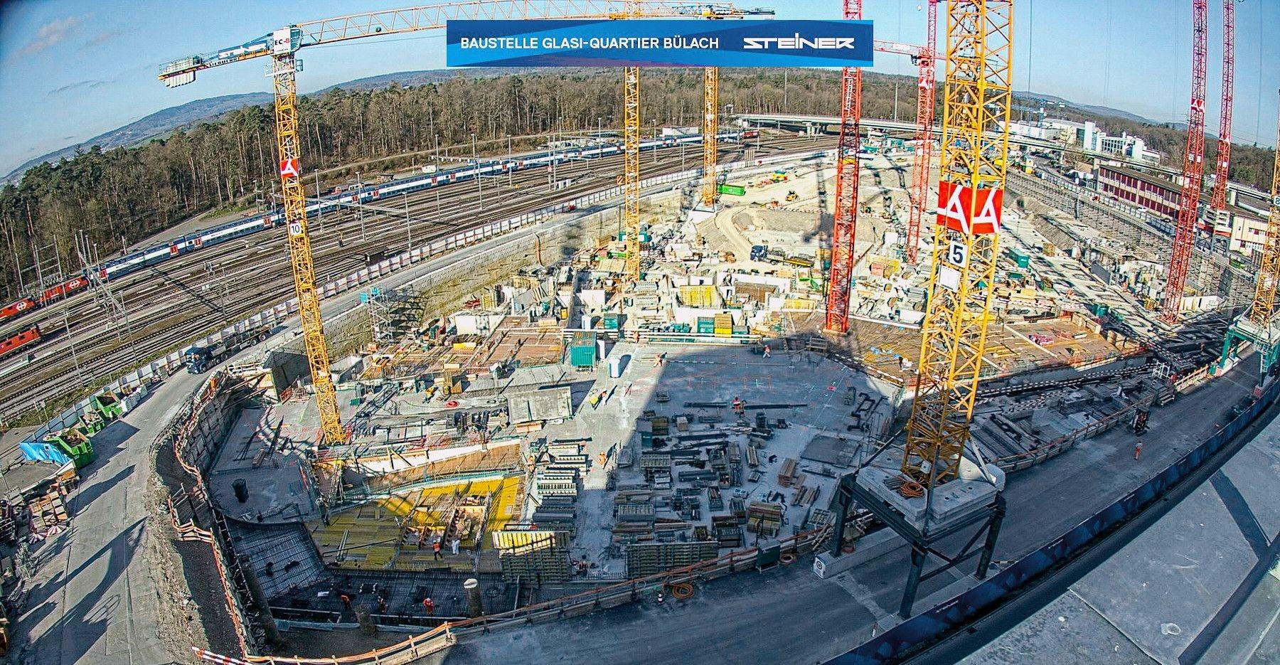 Baustelle auf dem Areal der ehemaligen «Glasi» in Bülach