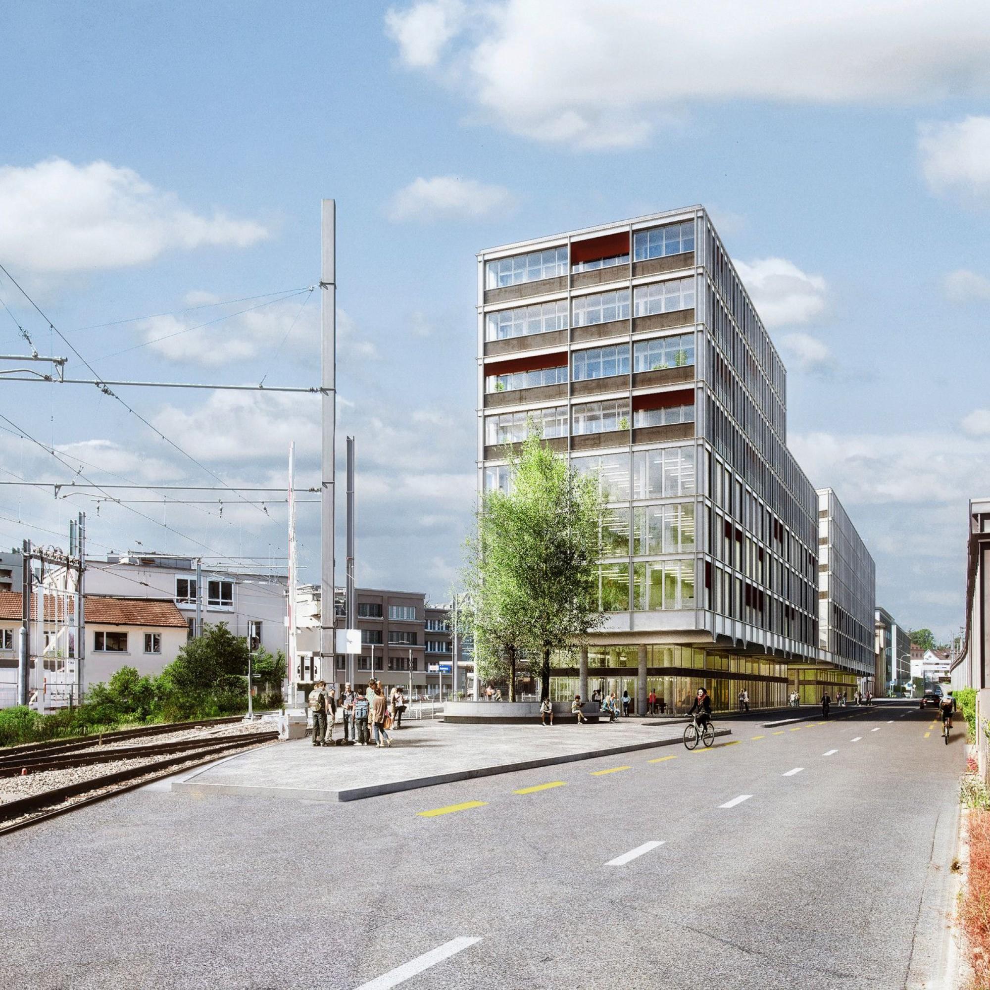 Visualisierung Überbauung des alten WSB-Bahnhofs in Aarau