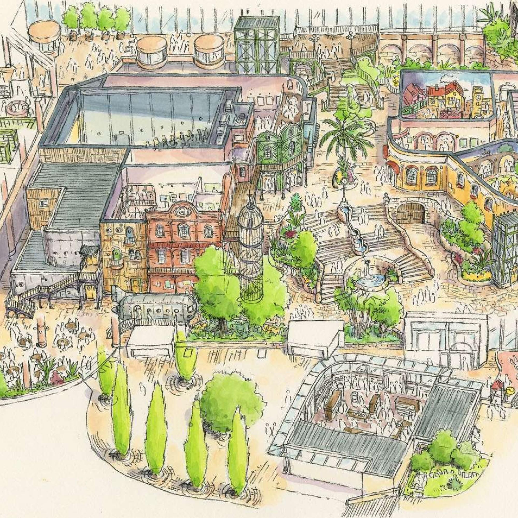 Illustration des Zentrums im Ghibli Park