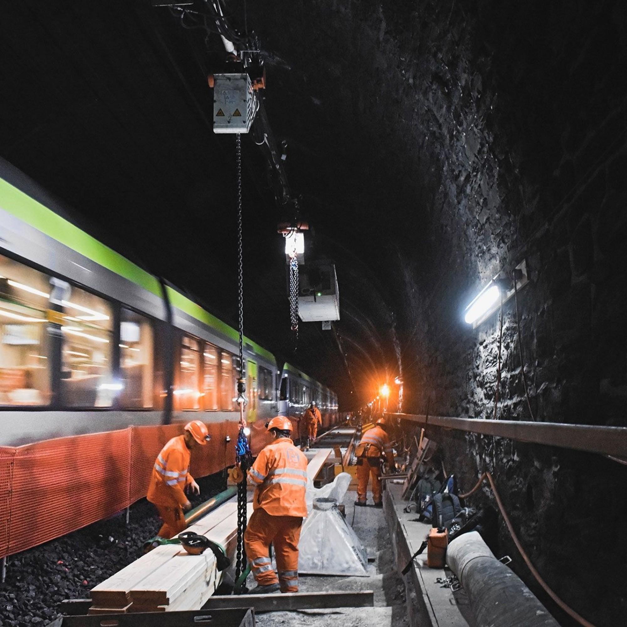 Bauarbeiten im Lötschbergtunnel, Sommer 2019.