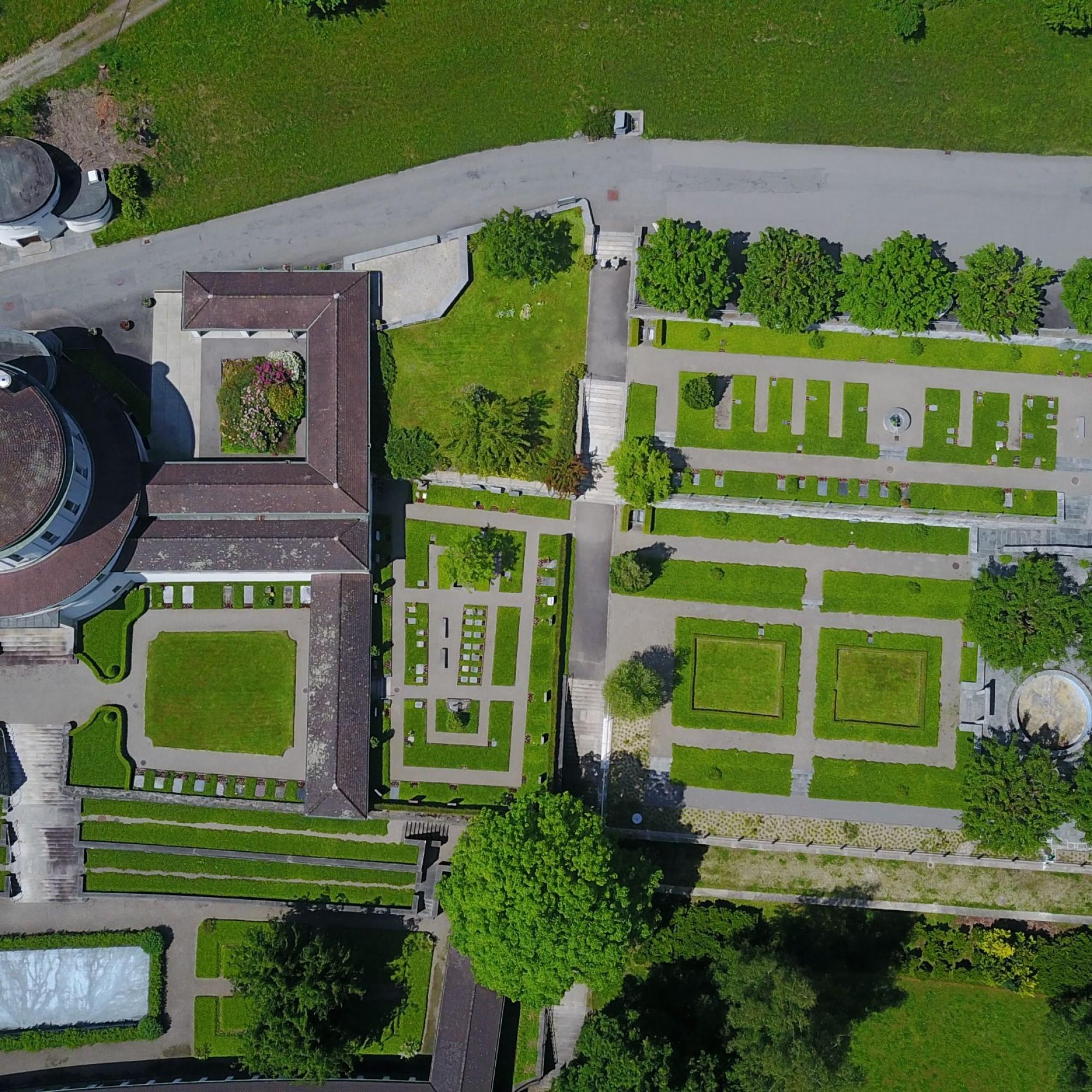 Luftaufnahme vom alten Krematorium in Luzern
