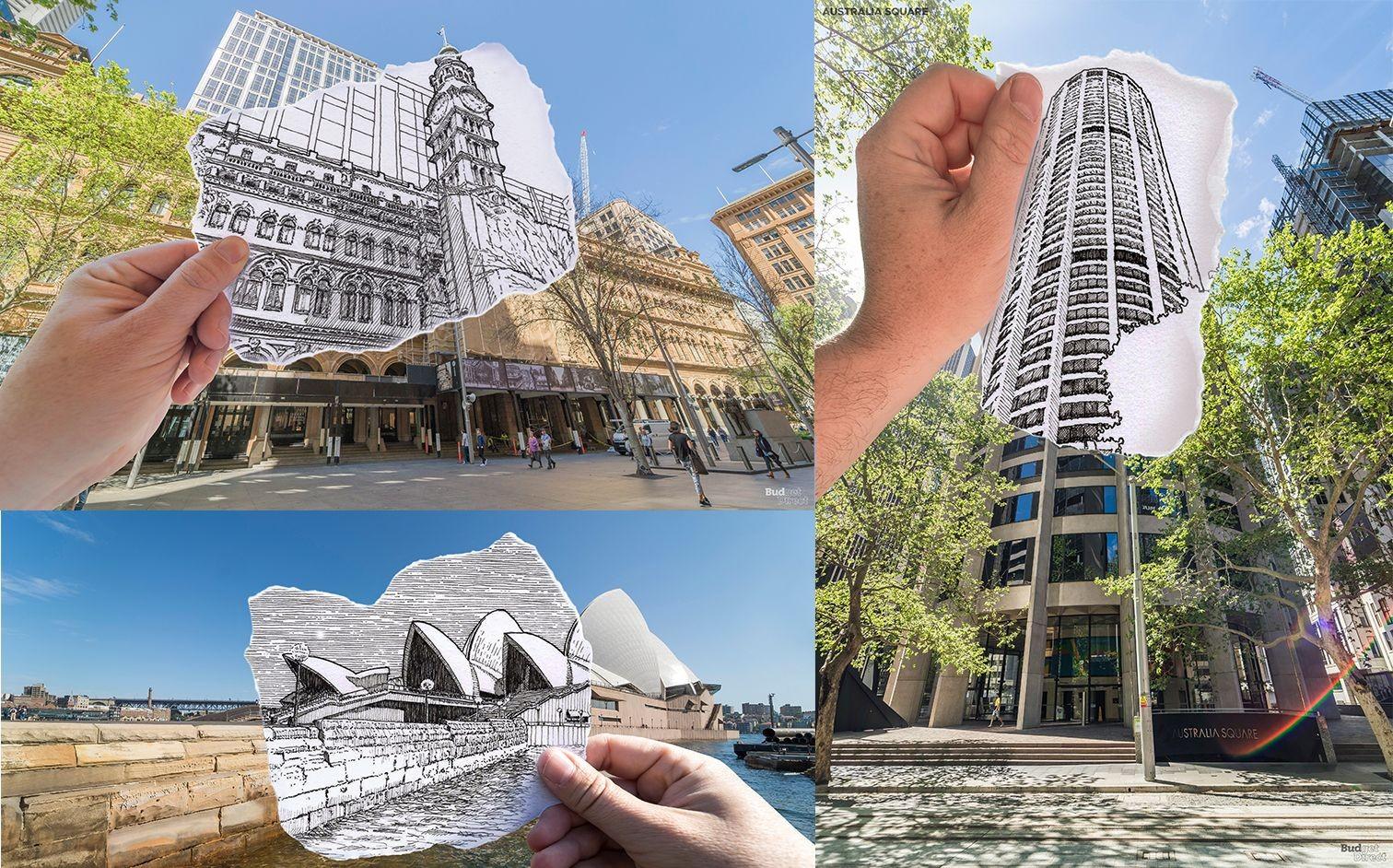 Collage von Gebäuden in Sydney im Comic-Stil.