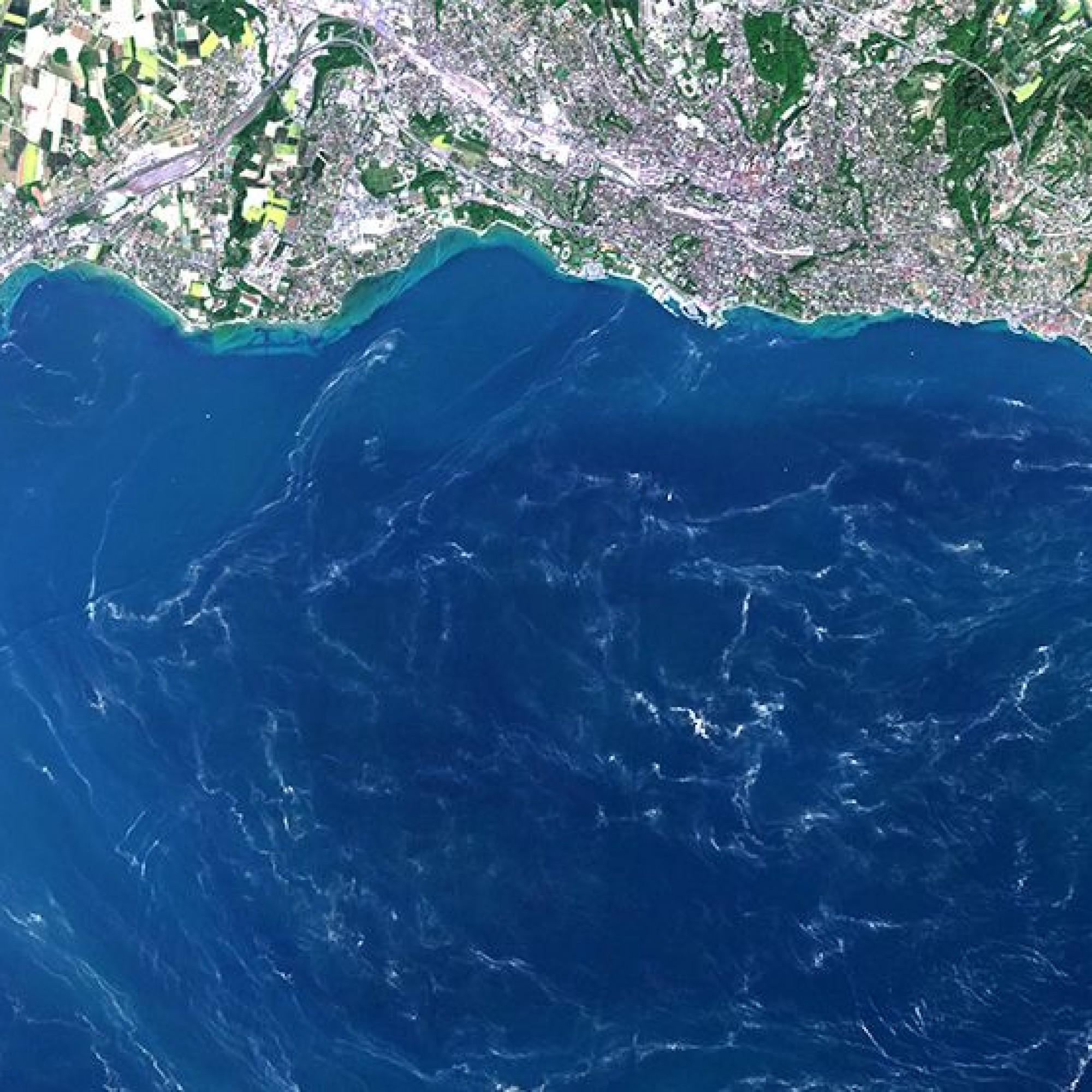Genfersee aus dem Orbit, Detail. (Lausanne)