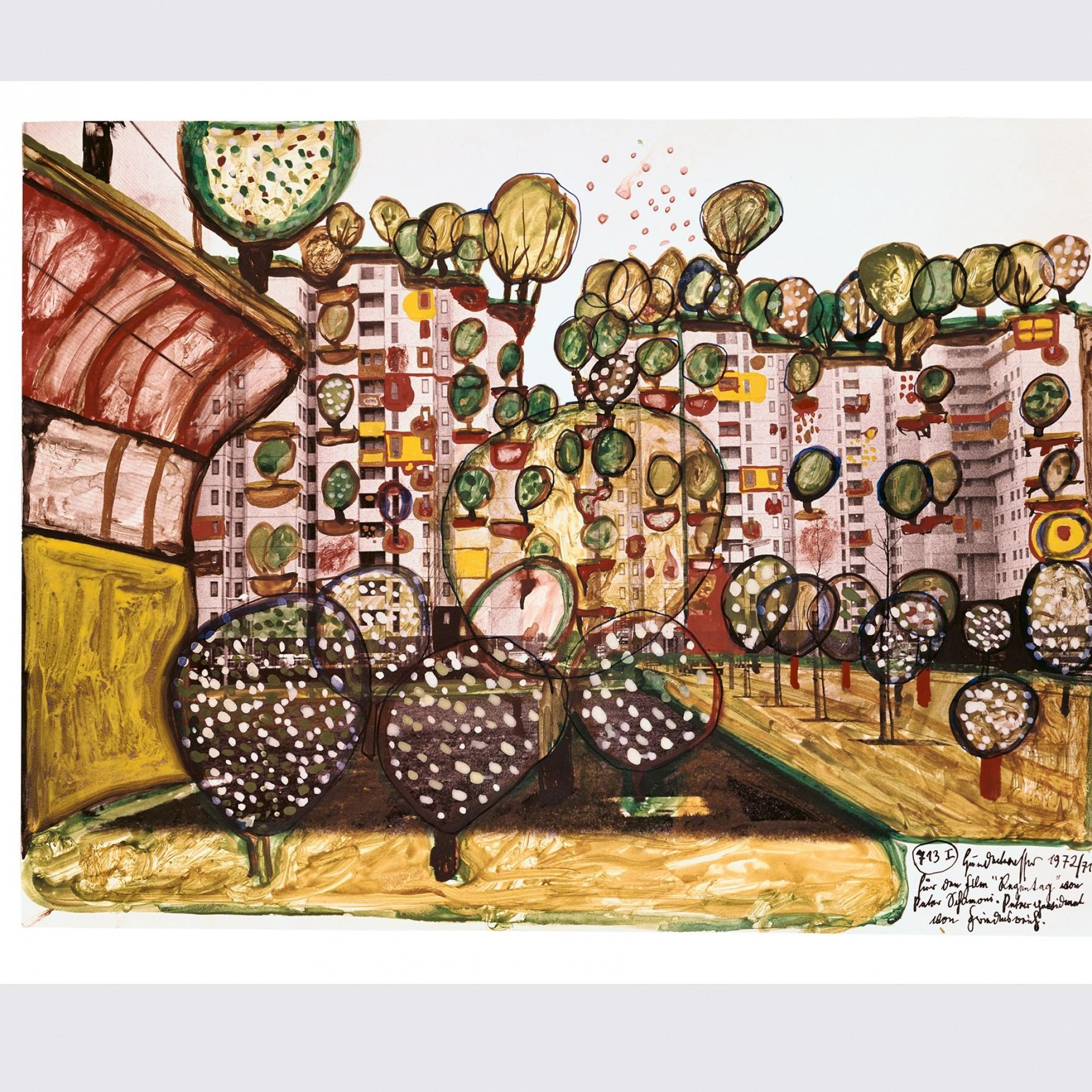 «Wohnhäuser – Architektur-Heilvorschlag», 1971–1972, Friedensreich Hundertwasser