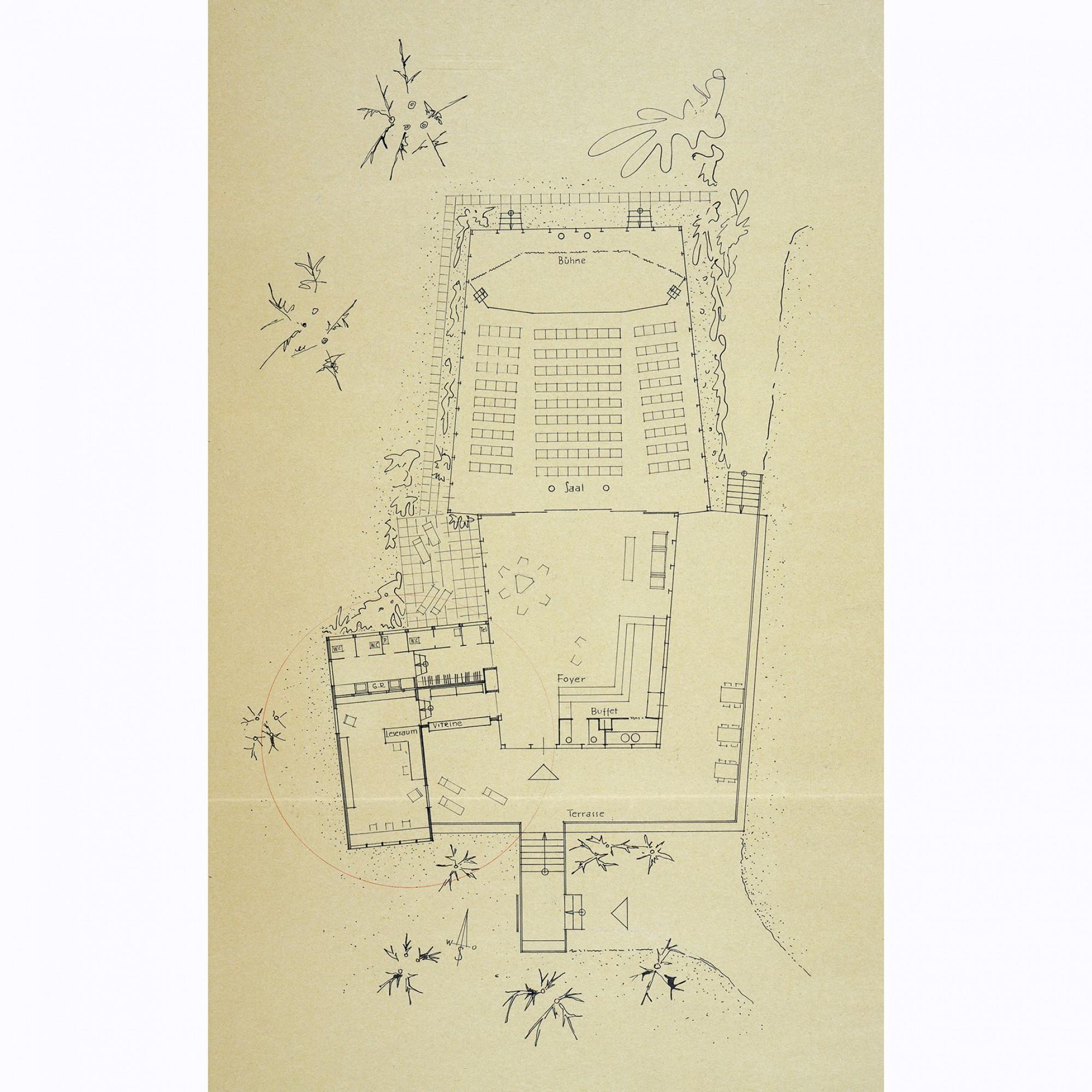 Plan, Clubhaus und Anbau.