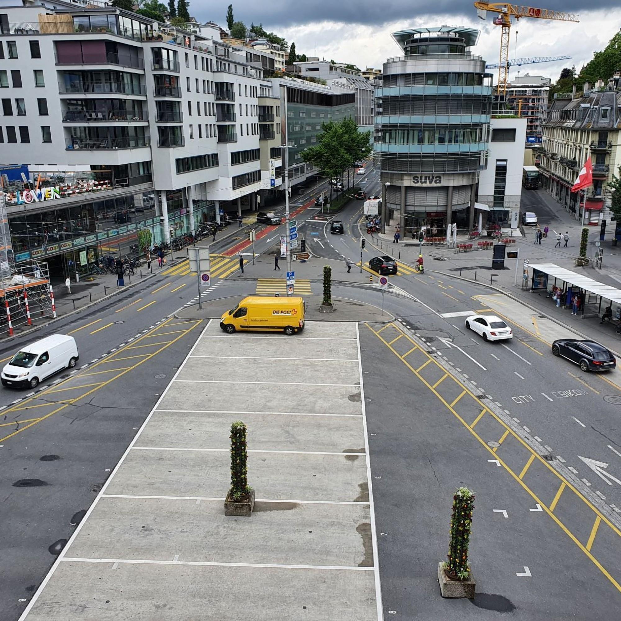 Carparkplatz auf dem Löwenplatz in Luzern