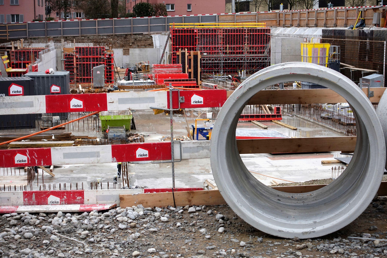 Baustelle an der Wehntalerstrasse in Zürich