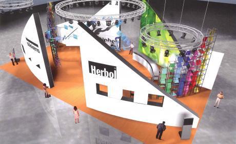 Halle 2a Stand / A 102: Der Entwurf des Designers zur AkzoNobel-Präsentation anlässlich der appli-tech 2012 bezeugt Nachhaltigkeit und Innovation gleichermassen.