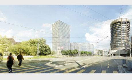 Visualisierung: Centralplatz mit neuem Gebäudekomplex / zvg
