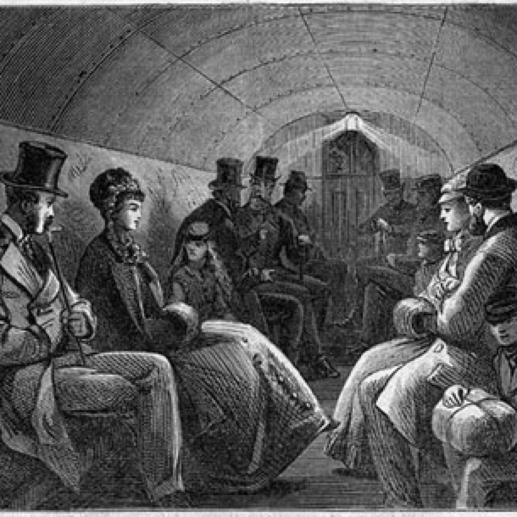 Innenraum eines Wagens um 1870 / wikimedia