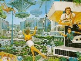 Diese Illustration des Künstlers Rick Guidice von 1977 zeigt eine Weltraum-Kolonie.