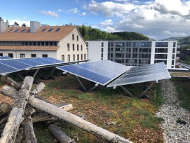 Kombination Photovoltaik-Anlage mit Dachbegrünung Greencity Zürich