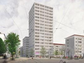 Visualisierung Wohntürme an Horburgstrasse in Basel