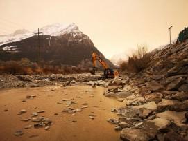 Saharastaub auf Baustelle in der Reuss