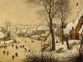 Winterlandschaft mit Eisläufern und Vogelfalle, Pieter Bruegel, um 1565