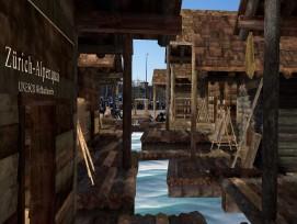 Virtuelle Pfahlbausiedlung auf dem Sechseläutenplatz