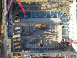 Drohnenaufnahme Baustelle Swiss Life Arena im April 2021