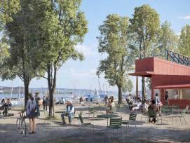 Visualisierung Siegerprojekt Porto Stretto Hafenpromenade Enge Kiosk