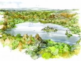 Illustration Bronzezeitliches Dorf auf Inkwilersee