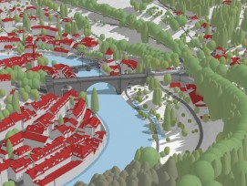 Nydeggbrücke im 3D-Modell der Stadt Bern