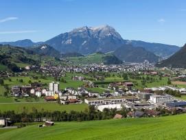 Blick vom Waltisberg nach Oberdorf, Stans, Stansstaad und Pilatus