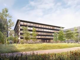 Visualisierung Bürogebäude Hortus in Allschwil Grünraum