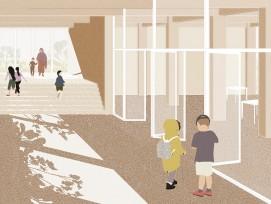 Treppenhaus im Schulhaus Triemli (Visualisierung)