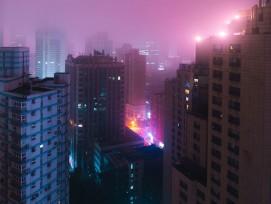 Wolkenkratzer in Schanghai bei Nacht