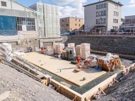Baugrube für Erweiterung Verwaltungsgebäude Thun