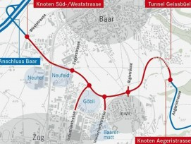 Die geplante Linienführung der Tangente Zug/Baar (www.zg.ch)