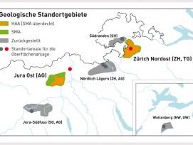 Die Standortgebiete: HAA = hochaktive Abfälle, SMA = schwach und mittelaktive Abfälle. (Quelle: Nagra)