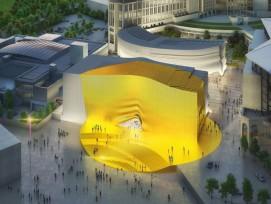 Von weiterm sichtbar: Der golden Platz und der goldene Eingang, des neuen Tourismus- und Unterhaltungszentrums. (MVRDV) 1/6