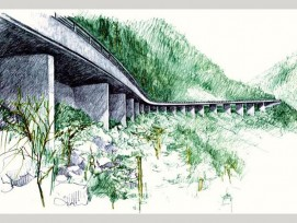 """Handzeichnung des Siegerprojekts """"Scolopendra"""". (Illustration zvg)"""