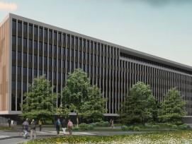 """So soll das neue Gebäude """"Square One"""" im D4 Business Village in Luzern aussehen."""