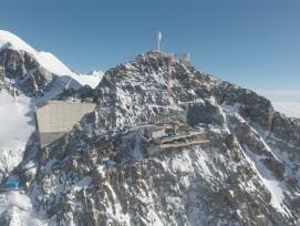 Die in Bau befindliche Bergstation der neuen Umlaufbahn zum Klein Matterhorn.