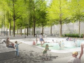 Wasserbecken und Buvette: Der Winkelriedplatz in Basel wird zum Treffpunkt für Jung und Alt.