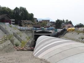 Startpunkt des bergmännischen Teils des Tunnels Berg der Südumfahrung Küssnacht im September 2017, kurz bevor sich die Sandlinse bildete.