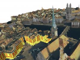 Blick auf Grossmünster, Limmat und Fraumünster. Das System erkennt Fassaden und Fenster (in den Gebäuden im Vordergrund gelb und rot sichtbar gemacht).