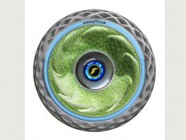 In der Seitenwand des Konzeptreifens «Oxygene» wächst Moos, das mittels des Prozesses der Photosynthese Sauerstoff in die Luft abgibt.