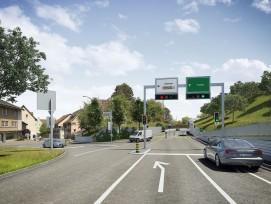 Visualisierung des Knotens Bruggerstrasse und Hangeinschnitt.